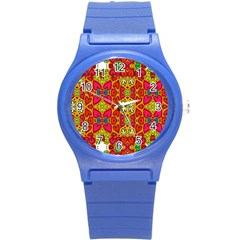 Abstract Background Pattern Doodle Round Plastic Sport Watch (s)