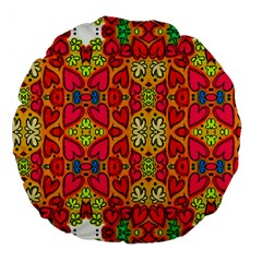 Abstract Background Pattern Doodle Large 18  Premium Round Cushions