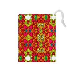 Abstract Background Pattern Doodle Drawstring Pouches (medium)