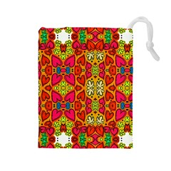 Abstract Background Pattern Doodle Drawstring Pouches (large)