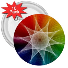 Abstract Star Pattern Structure 3  Buttons (10 Pack)