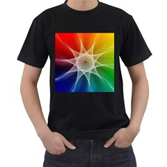 Abstract Star Pattern Structure Men s T Shirt (black) (two Sided)
