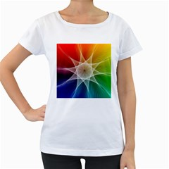 Abstract Star Pattern Structure Women s Loose Fit T Shirt (white)