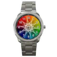 Abstract Star Pattern Structure Sport Metal Watch