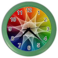 Abstract Star Pattern Structure Color Wall Clocks