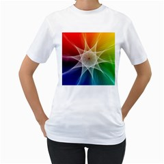 Abstract Star Pattern Structure Women s T Shirt (white)