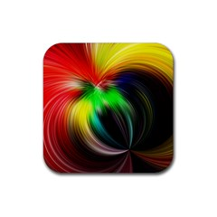 Circle Lines Wave Star Abstract Rubber Square Coaster (4 Pack)