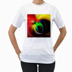 Circle Lines Wave Star Abstract Women s T Shirt (white)