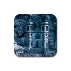 Church Stone Rock Building Rubber Square Coaster (4 Pack)