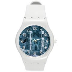Church Stone Rock Building Round Plastic Sport Watch (m)