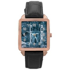 Church Stone Rock Building Rose Gold Leather Watch