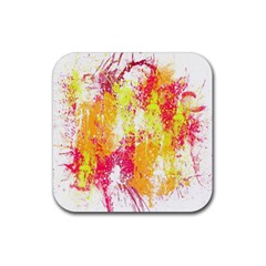 Painting Spray Brush Paint Rubber Square Coaster (4 Pack)