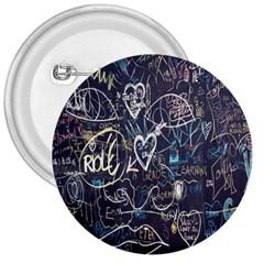 Graffiti Chalkboard Blackboard Love 3  Buttons