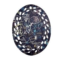 Graffiti Chalkboard Blackboard Love Oval Filigree Ornament (two Sides)