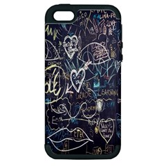 Graffiti Chalkboard Blackboard Love Apple Iphone 5 Hardshell Case (pc+silicone)