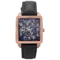 Graffiti Chalkboard Blackboard Love Rose Gold Leather Watch