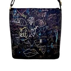 Graffiti Chalkboard Blackboard Love Flap Messenger Bag (l)