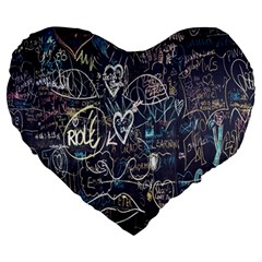 Graffiti Chalkboard Blackboard Love Large 19  Premium Flano Heart Shape Cushions