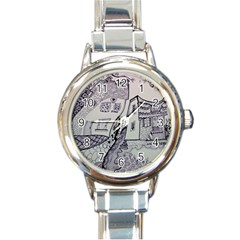 Doodle Drawing Texture Style Round Italian Charm Watch