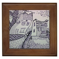 Doodle Drawing Texture Style Framed Tiles