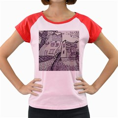 Doodle Drawing Texture Style Women s Cap Sleeve T Shirt