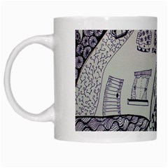 Doodle Drawing Texture Style White Mugs