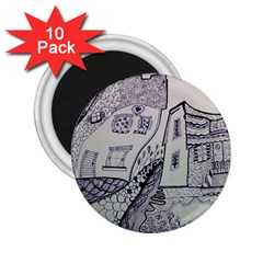 Doodle Drawing Texture Style 2 25  Magnets (10 Pack)