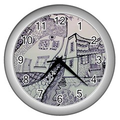 Doodle Drawing Texture Style Wall Clocks (silver)