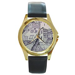 Doodle Drawing Texture Style Round Gold Metal Watch