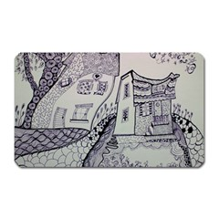 Doodle Drawing Texture Style Magnet (rectangular)