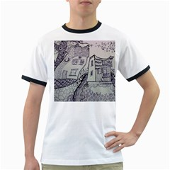 Doodle Drawing Texture Style Ringer T Shirts
