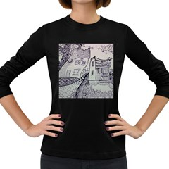 Doodle Drawing Texture Style Women s Long Sleeve Dark T Shirts