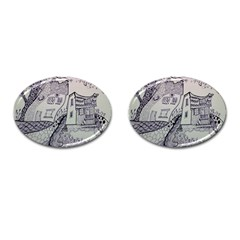 Doodle Drawing Texture Style Cufflinks (oval)