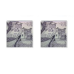 Doodle Drawing Texture Style Cufflinks (square)