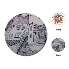 Doodle Drawing Texture Style Playing Cards (round)