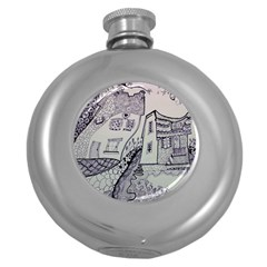 Doodle Drawing Texture Style Round Hip Flask (5 Oz)