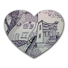 Doodle Drawing Texture Style Heart Mousepads