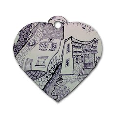 Doodle Drawing Texture Style Dog Tag Heart (two Sides)