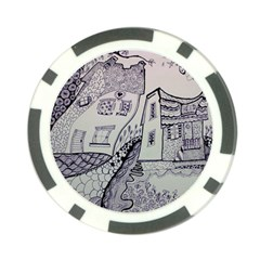 Doodle Drawing Texture Style Poker Chip Card Guard