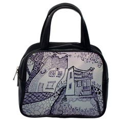 Doodle Drawing Texture Style Classic Handbags (one Side)