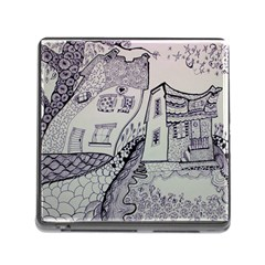 Doodle Drawing Texture Style Memory Card Reader (square)