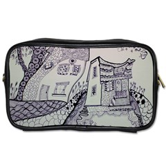 Doodle Drawing Texture Style Toiletries Bags 2 Side