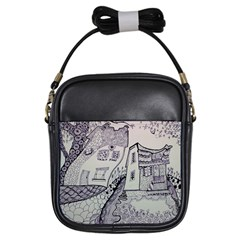 Doodle Drawing Texture Style Girls Sling Bags