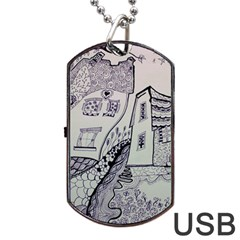 Doodle Drawing Texture Style Dog Tag Usb Flash (two Sides)
