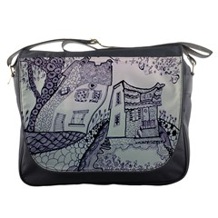 Doodle Drawing Texture Style Messenger Bags