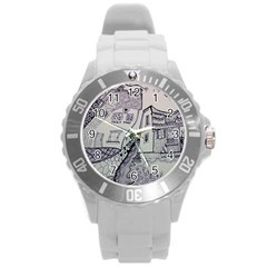 Doodle Drawing Texture Style Round Plastic Sport Watch (l)