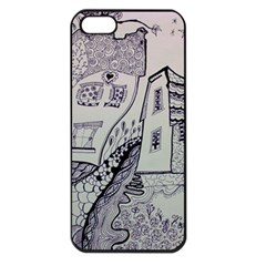 Doodle Drawing Texture Style Apple Iphone 5 Seamless Case (black)