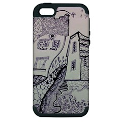 Doodle Drawing Texture Style Apple Iphone 5 Hardshell Case (pc+silicone)