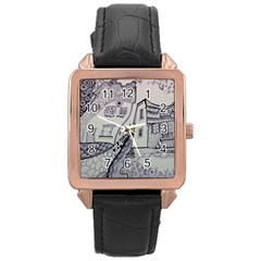 Doodle Drawing Texture Style Rose Gold Leather Watch