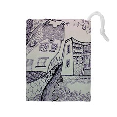 Doodle Drawing Texture Style Drawstring Pouches (large)